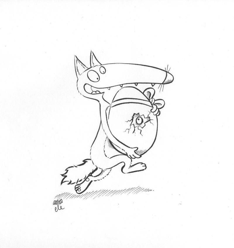 Paque coloriage - Petit loup dessin ...