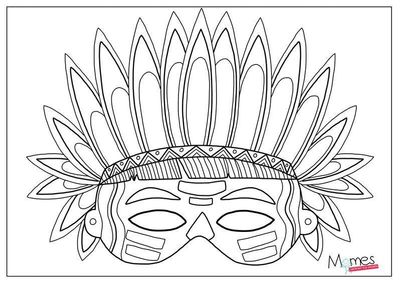 Les masques page 2 - Coloriage petit indien imprimer ...