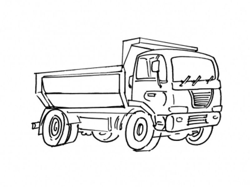 Coloriage chantier et construction - Coloriage camion de poubelle ...