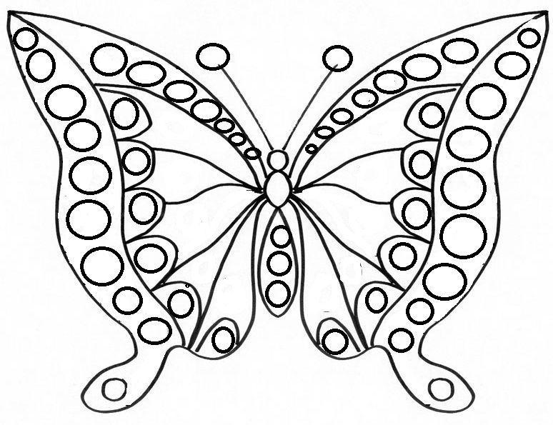 Activite pour gommette - Papillon coloriage ...