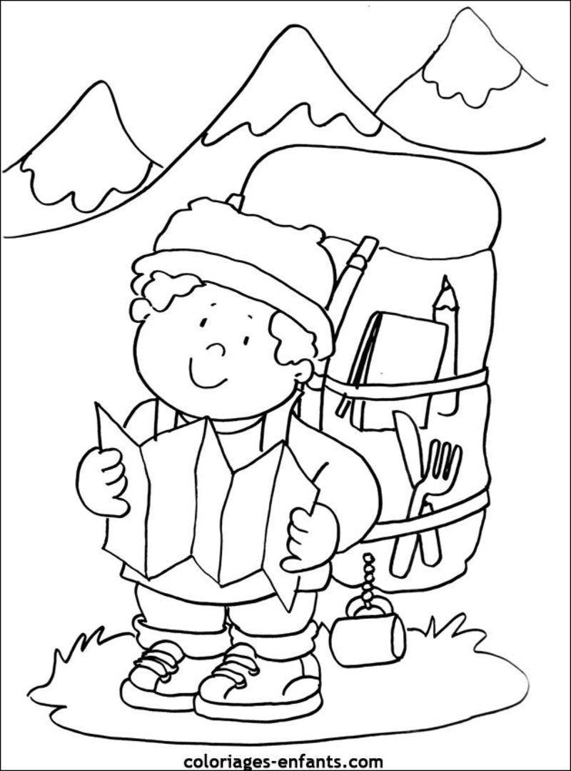 Coloriage la montagne - Dessin de chalet de montagne ...