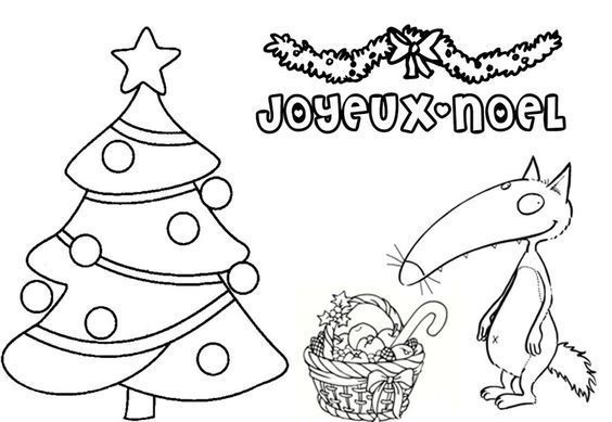 Coloriage de noel - Petit loup dessin ...