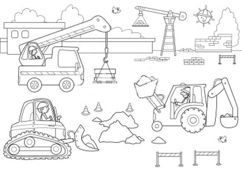 Coloriage chantier et construction - Coloriage tractopelle a imprimer gratuit ...